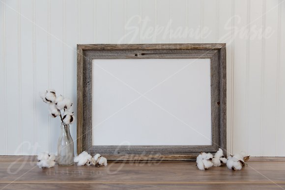 Barn Wood And Cotton Mock Up