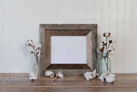 Barn Wood Frame And Cotton Mock Up