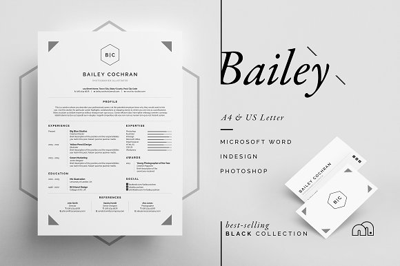 resume cv bailey resume templates creative market