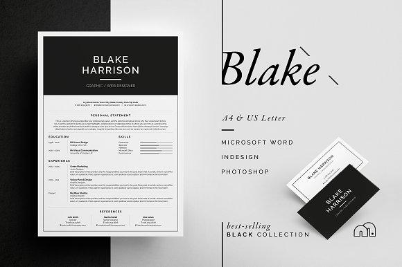Resume/CV - Blake ~ Resume Templates ~ Creative Market