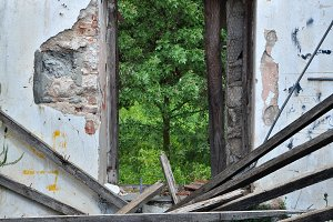 Collapsed Roof Abandoned House