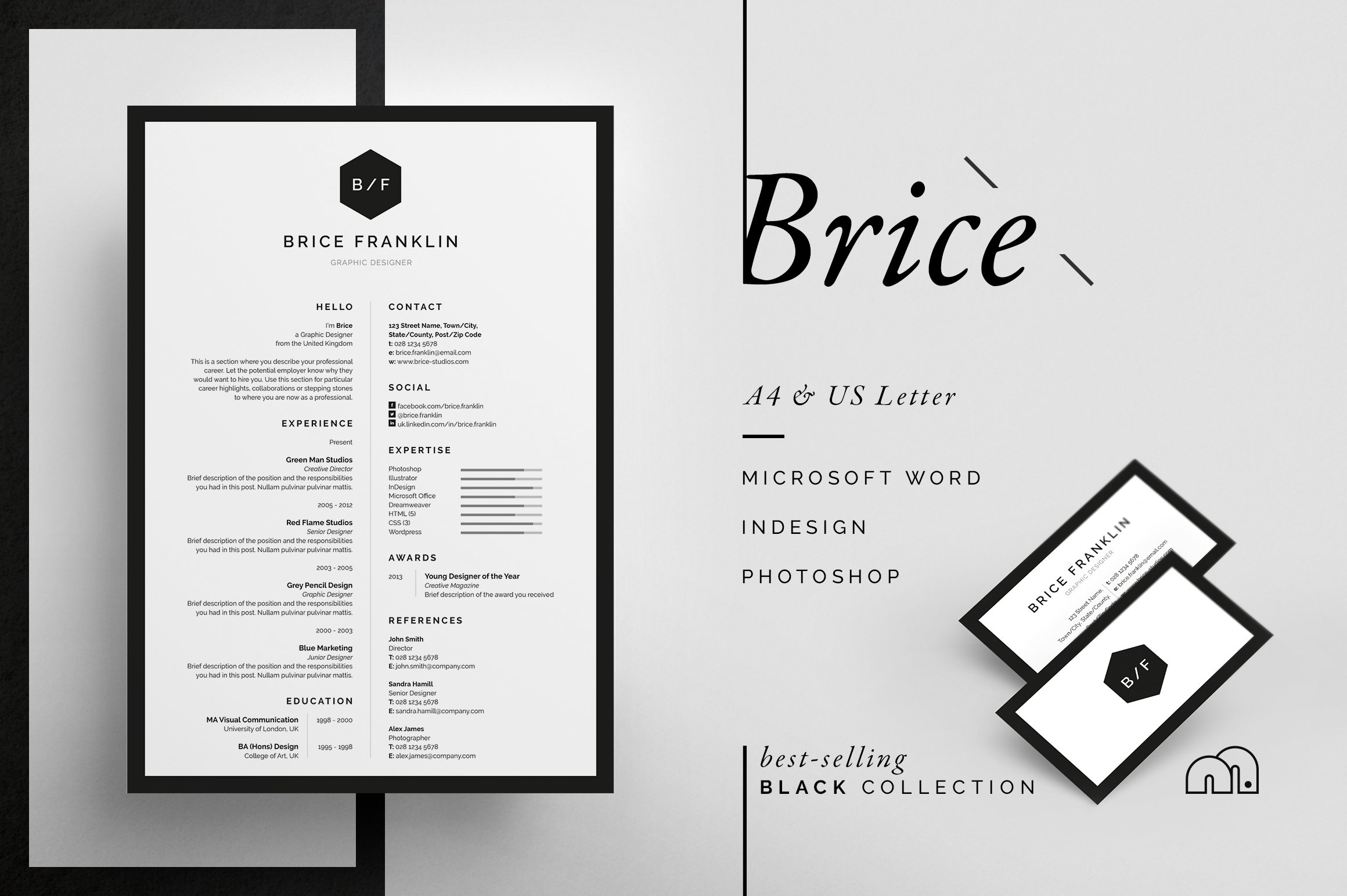 a font texture brush resume template more resume cv template brice - Best Fonts For Resume