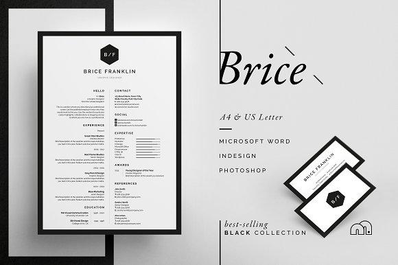 Resume/CV - Brice ~ Resume Templates ~ Creative Market