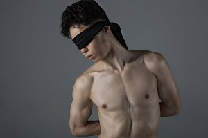 Man with a blindfold
