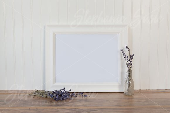 White Frame And Lavender Mock Up
