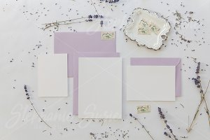 White & Lavender Invitation Lay Flat