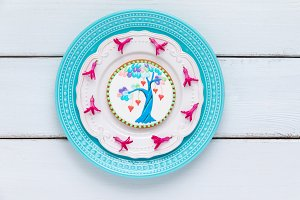 Love tree cookie on plate