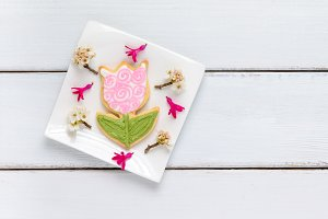 Homemade tulip flower cookie