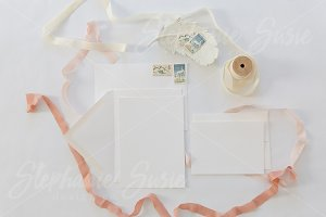 White & Pink Invitation Lay Flat