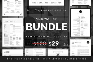 Resume/CV Bundle - Black Collection