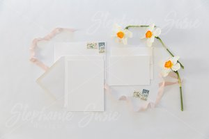 White Invitation Lay Flat Mock Up