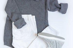 Flat lay feminine clothes.