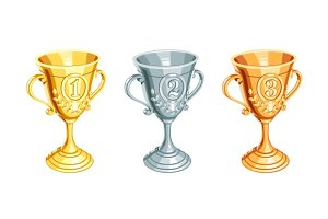 Gold, bronze, silver champion cup