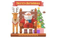 Santa and deer. Christmas time