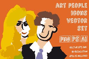 Art people faces vector set