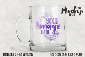 Clear glass mug mockup