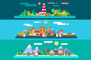Vector Flat Landscapes by the Sea