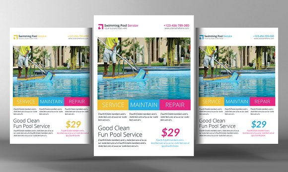 swimming pool cleaning service flyer flyer templates creative market. Black Bedroom Furniture Sets. Home Design Ideas