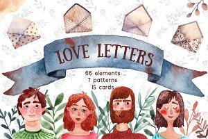 Love Letters - Watercolor Clip Art