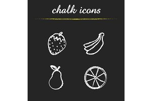 Fruit chalk icons set