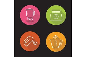 Kitchen appliances. Flat linear long shadow icons set