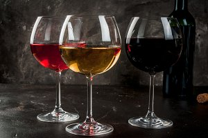 Selection of red, white & pink wine