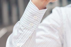 Close up of a businessman's shirt cuffs