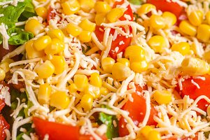 Corn salad close up
