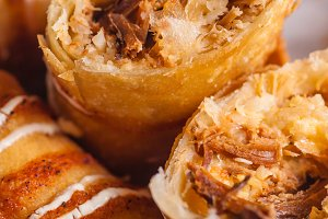 Crunchy eggroll close up
