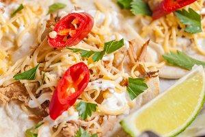 Tasty tacos close up