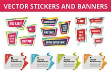 Stickers and Banners - Vector Set