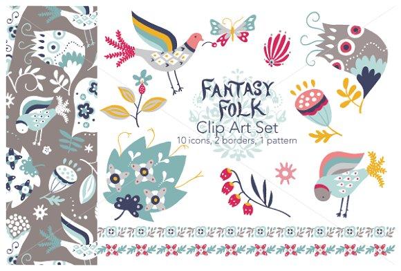 Fantasy Folk Vector Clip Art Set