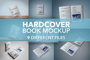 9 Hardcover Book Mockup Bundle