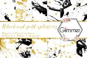 12 Black and Gold splatter patterns