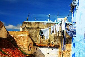 Drying clothes on the street,Morocco