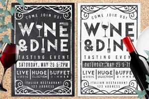 Wine & Dine Event Chalk Flyer Invite