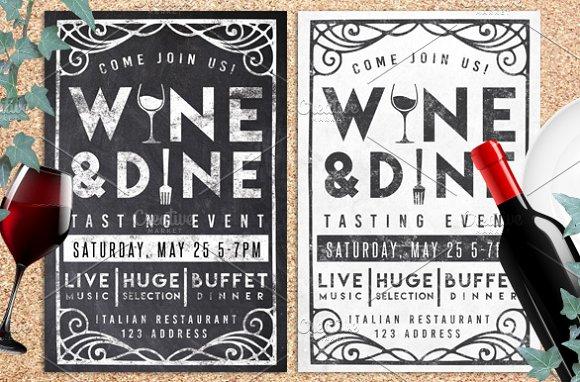 wine dine event chalk flyer invite flyer templates creative market