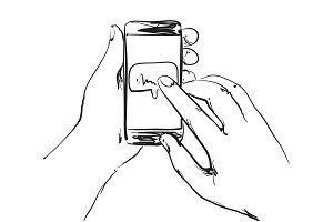 Phone in the hands. Sketching