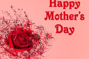 Happy Mothers Day background with red rose