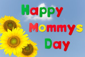 Happy Mothers Day background with sunflowers