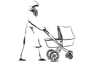 Woman with baby carriage. Sketch