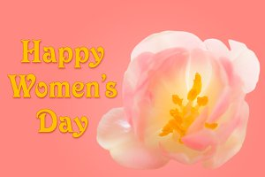 Happy Womens Day background with tulip blossom