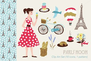 Paris Noon Vector Clip Art Set