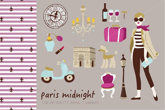 Paris Midnight Vector Clip Art Set