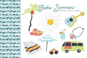 Boho Summer Vector Clip Art Set