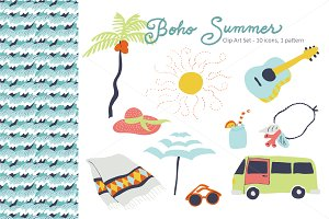 Boho Summer Clip Art Set