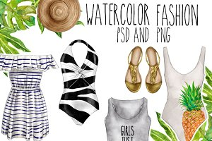 Watercolor Fashion clip art set