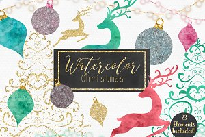 Watercolor & Metallic Gold Christmas