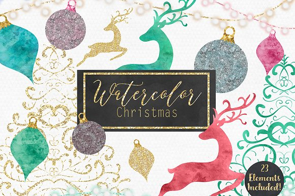 Watercolor Metallic Gold Christmas
