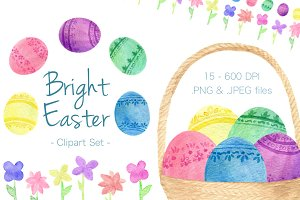 Bright Easter Egg & Floral Clipart